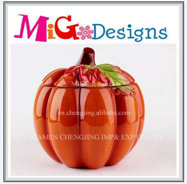 Hand Painted Factory Manufacture Wholesale Thanksgiving Decor Pumpkin Candy Jars