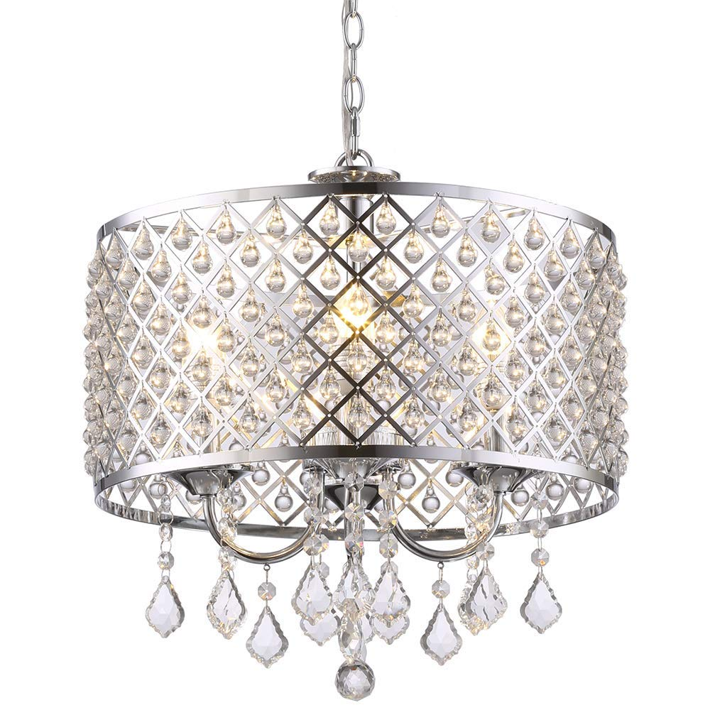GLANZHAUS Modern 4-Light Crystal Chandelier Pendant Light, Ceiling Light with Crystal Beaded Drum Shade Chrome Finish for Bedroom, Living Room, Hallway, Bar, Kitchen, Dining Room, Kids Room