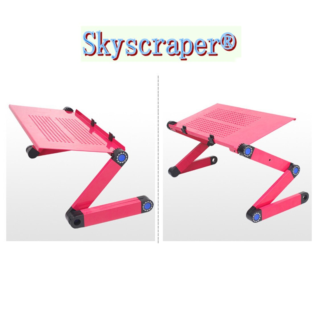 Skyscraper USB Fan Adjustable Vented Laptop Table Laptop Computer Desk Portable Bed Tray Book Stand Multifuctional & Ergonomics Design Dual Layer Tabletop (Pink)