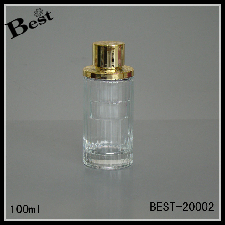round shape cosmetic perfume bottle, 100ml glass bottle with gold cap for perfume