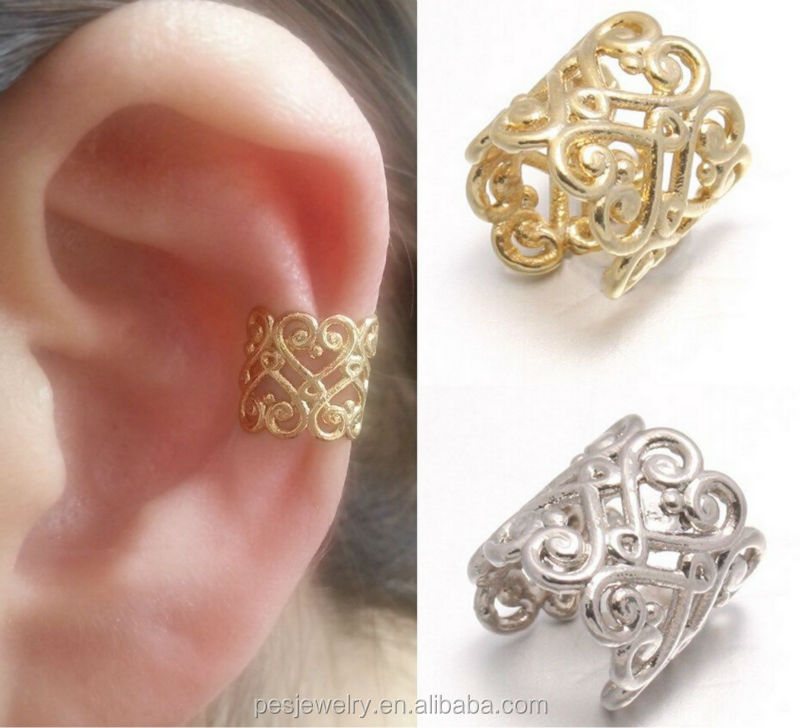 18k Gold Plated Decorated Warp Upper Ear Cuff Earrings Jewelry For Women