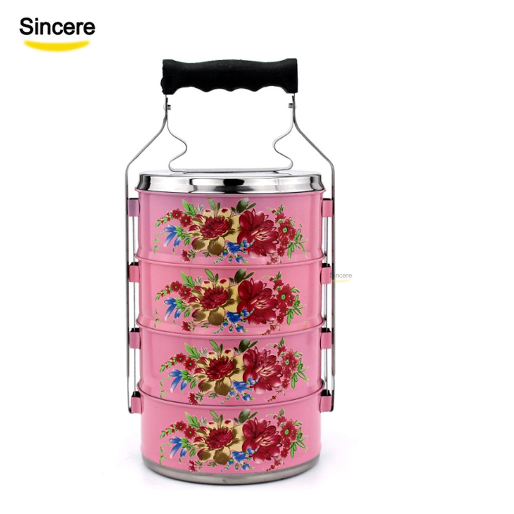 2/3/4 layer 410 Stainless steel lunch box enamel tiffin box with flower