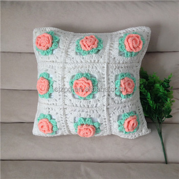 Hand Crochet Cushion CoverCrochet Pillow Cover With Flowers Buy Enchanting How To Crochet A Pillow Cover