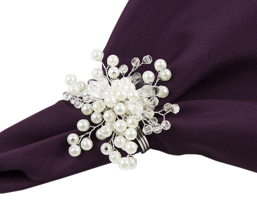 Fennco Styles Elegant Pearl Collection Wedding Special Event Table Napkin Rings - Set of 4 (Glass Beads Pearl Snowflake)