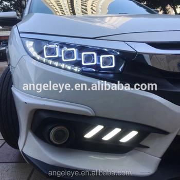 For Honda Civic Full Led Headlight 2016 2017 Year Bugatti Style Front Lamp Jl