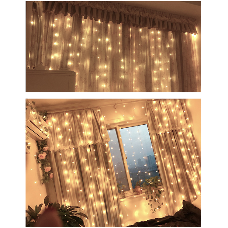 Multi color connectable wedding party string fairy light curtain