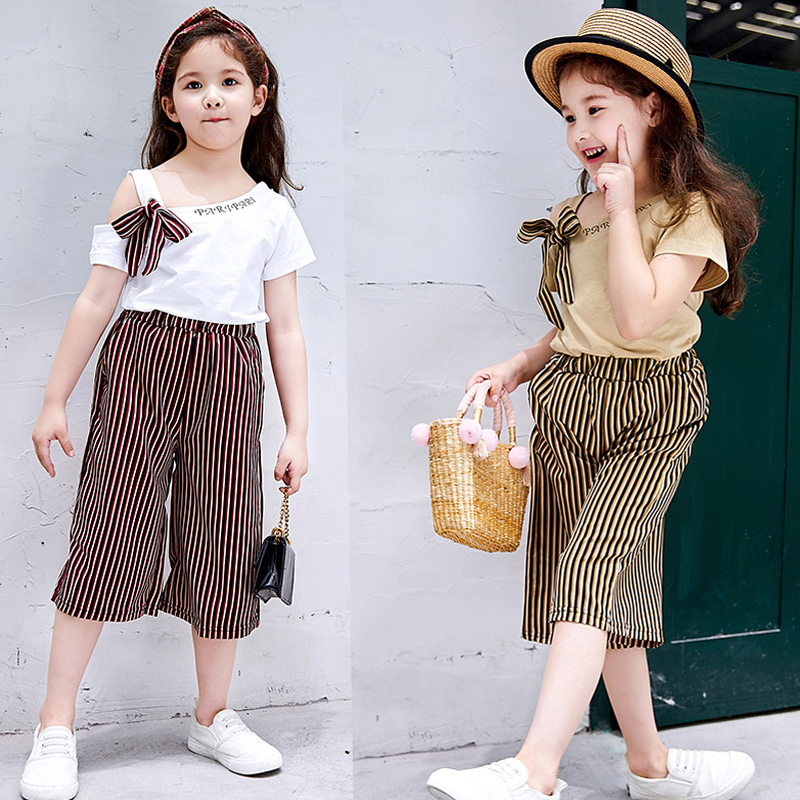Hot sell baby clothes set wholesale price Children Girls Off Shoulder Crop T-shirt Striped Print Shorts Suits 2Pcs Costume Set