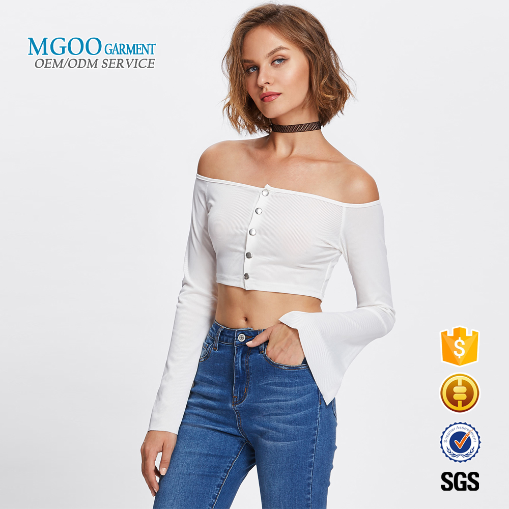 MGOO Garment white off shoulder crop top button front ribbed bell sleeve women t shirt custom made long sleeve t shirts