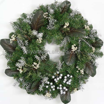 22 Christmas Magnolia Door Wreath With Pushy Willow And Pinecone