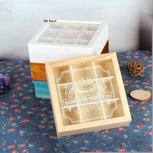 Fancy design custom made 9 slots clear acrylic lid wood tea big storage box