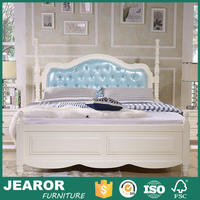 Contemporary Affordable Rustic Solid Wood Queen Size White Bed Frame with Upholstered Headboard 1007