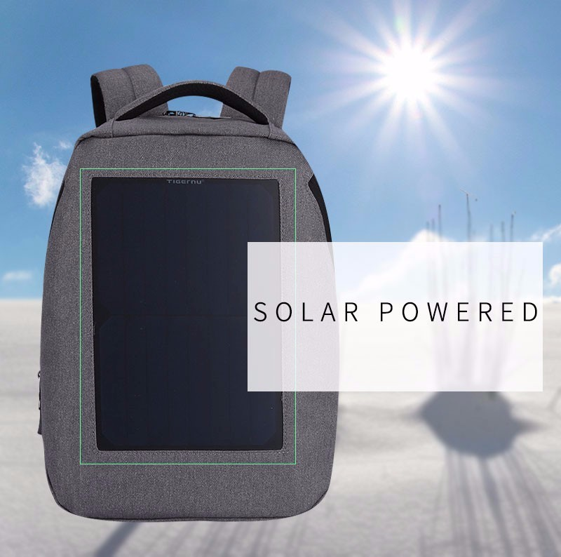 Tigernu New 10W Solar Powered & Anti-Theft Backpack with Solar Panel Bag Men and Women Laptop Bag