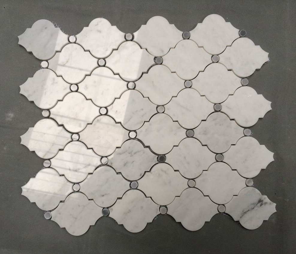 White Carrara Arabesque Water Jet Stone Mosaic Tile Buy