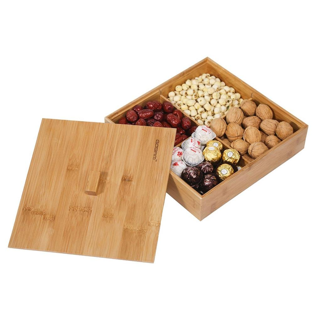 Divided Wood Bamboo Snacks Fruit Serving Tray With Lid