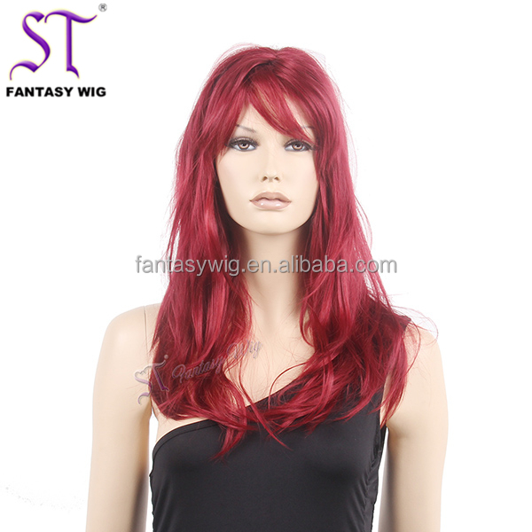 Messy Style Layered Kinky Straight Long Hair Wig Dark Red - Buy ... 952b1e82a4dd