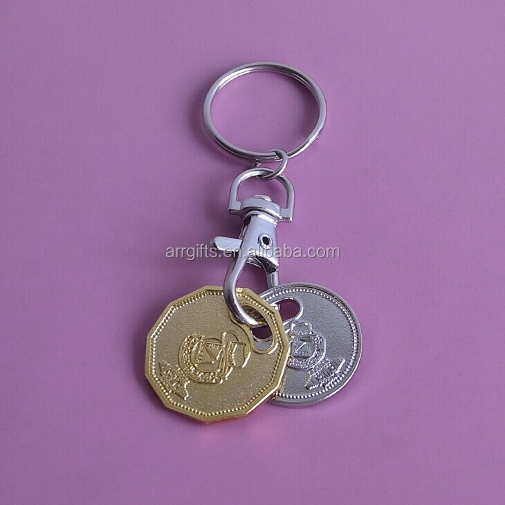 custom embossed logo new UK size trolley cart coin keychain for supermarket