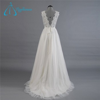 Simple A-line Lace Bow Sash Western Wedding Dress Patterns - Buy ...