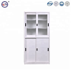 Half glass door storage bookcase cabinet vertical cheap metal filing cabinet