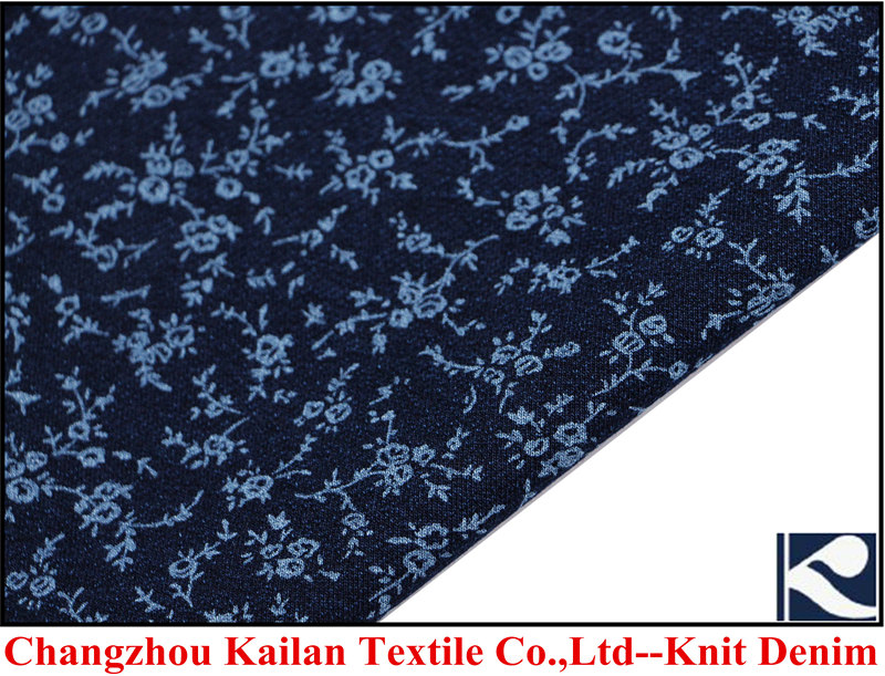 75% indigo knit print denim fabric