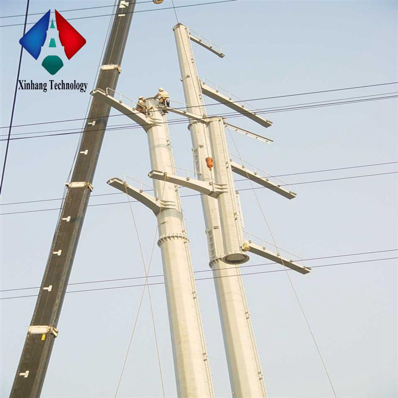 line transmission mast pole galvanized 30 meter tower monopole