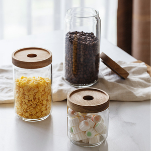 Handmade heat resistant custom glass jar for food with wood lid