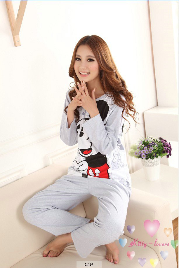 Get Quotations · girl s pink long sleeve pajamas set  cute cotton Minnie pajamas  suits for women ladies sleepwear 4460a8af2