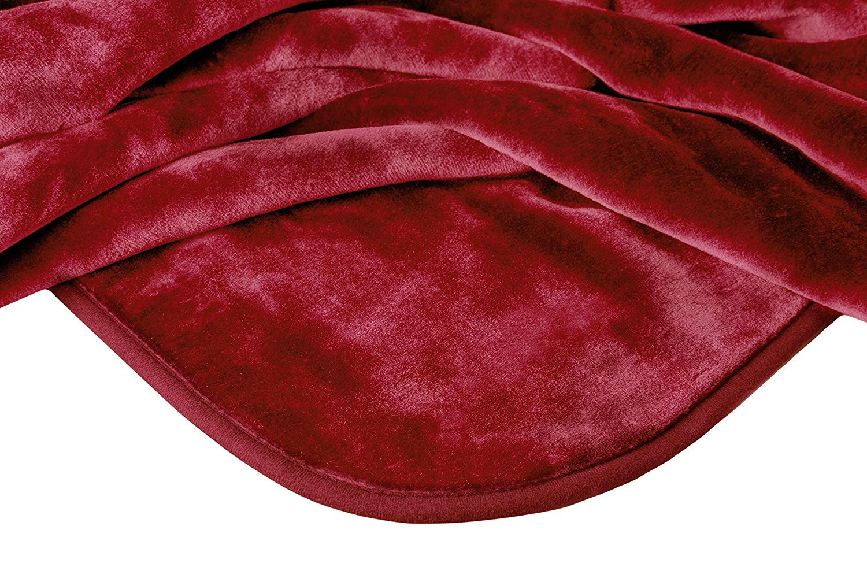 "Solaron Queen Size 78"" x 94"" Solid Korean Mink Blanket Burgundy"
