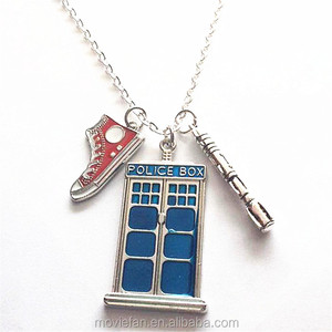 Doctor Who Pendant Tardis Tenth Doctor Blue Box Necklace Nerd Jewelry Geek Gift