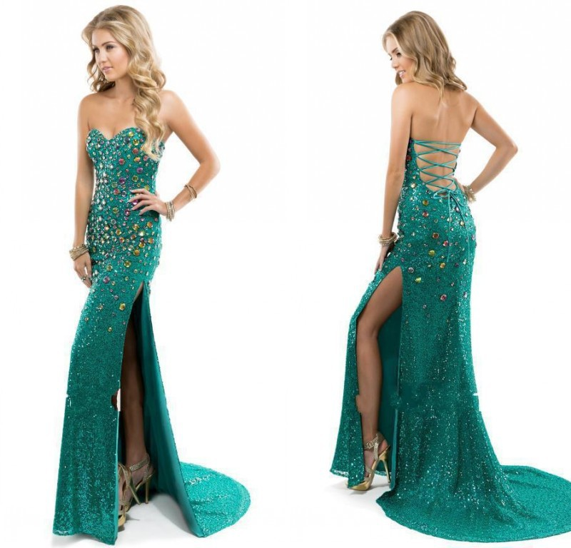 Latest Design Prom Dresses Long Crystal 2015 Emerald Green Sexy High Slit Evening Dress Sweetheart Backless