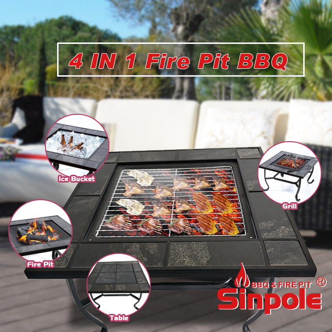 Outdoor bbq grill 4 in 1, powder coated steel charcoal bbq grill stand