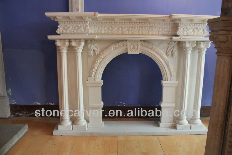 Sale Classic Decorative Elegant China Hand Carved Natural Indoor White Marble Fireplace