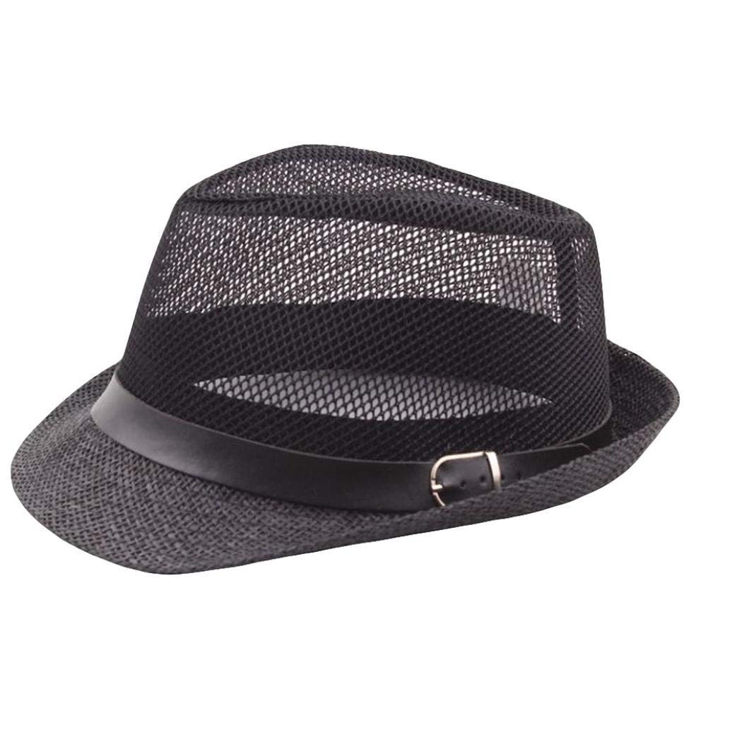 Get Quotations · ☀LIULIULIU☀Unisex Trilby Gangster Cap Beach Sun Straw Hat  Band Sunhat (Black) f417ba5cbf3e