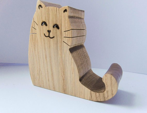 Eiche nette katze form holz pad halter tabelle pc - Holz hartegrade tabelle ...
