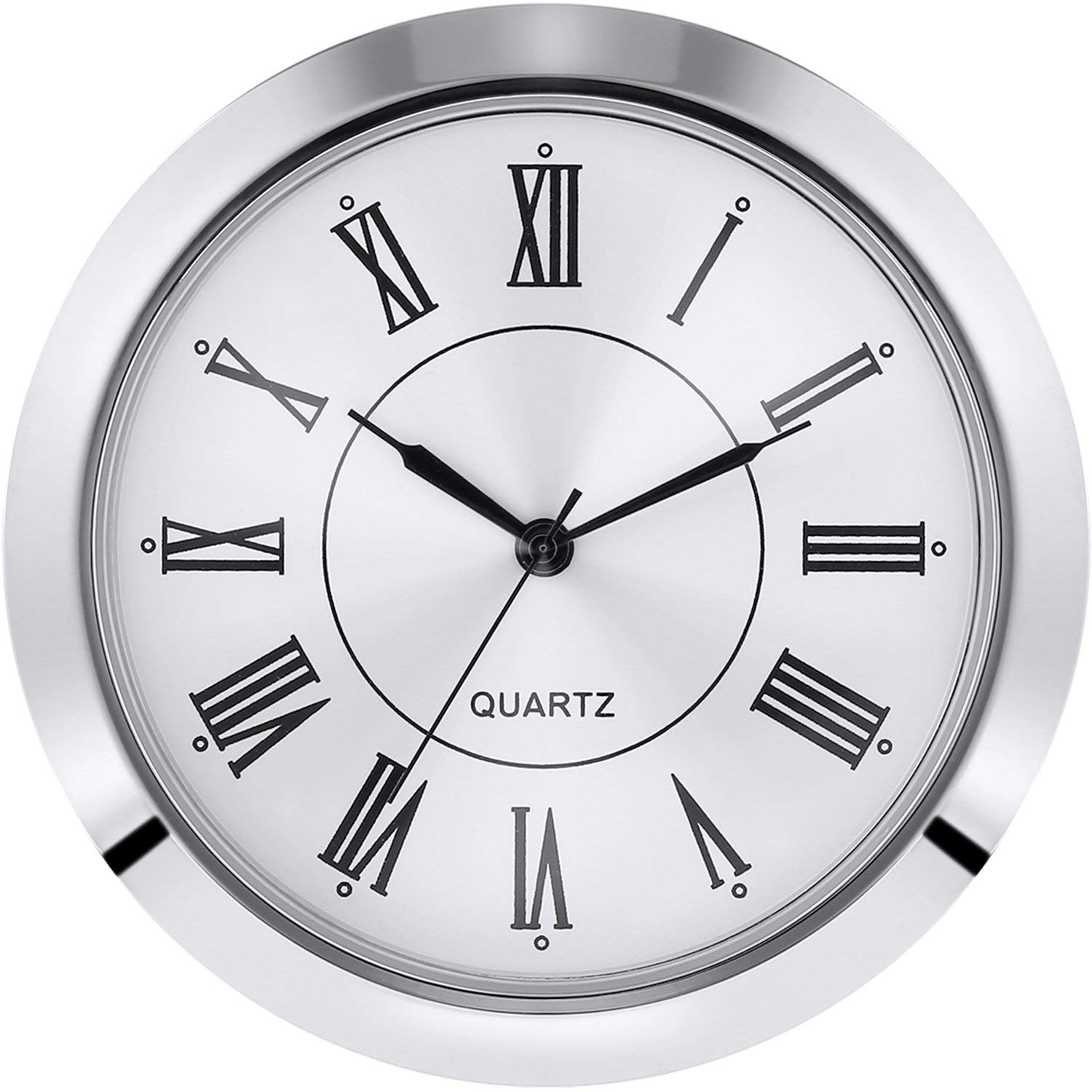 Hicarer 2-1/8 Inch (55 mm) Quartz Clock Fit-up/Insert, Fit Diameter 1-7/8 to 2 Inch (48-50 mm) Hole, Zinc-Alloy Metal Case, Roman Numeral (Silver)