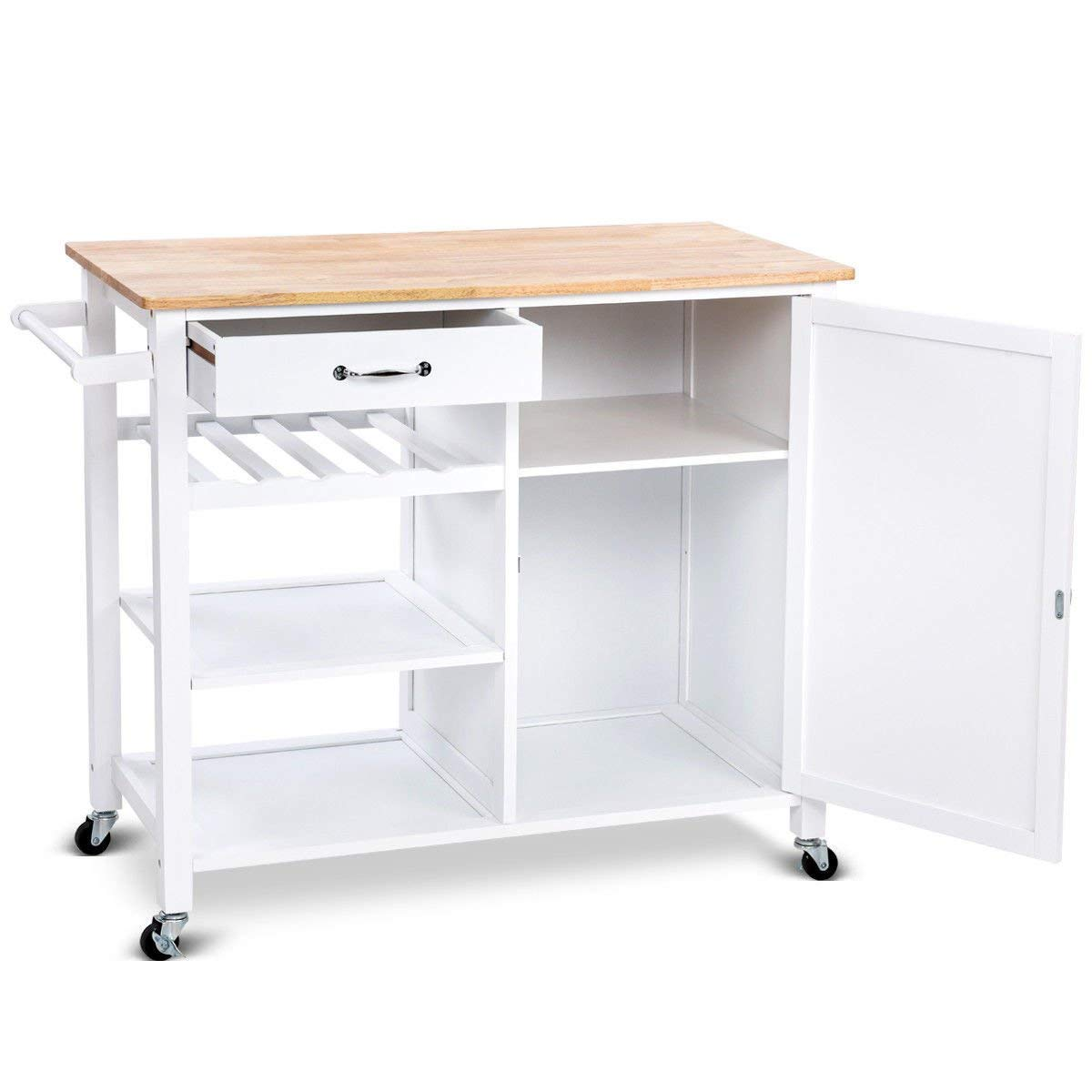 Lapha' Trolley Island Cart Wheel Cabinet Portable White Wood Kitchen Shelf Drawer Wine Rack Kitchen Dining Bar Cabinet Drawers Utility Island Rolling Kitchen Storage Cart Trolley White Table Beverages