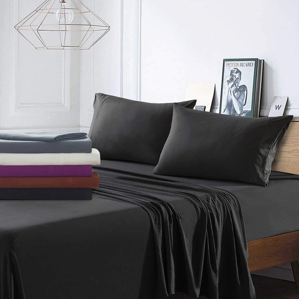 Bedding Kraft, Den 1000 TC 4 Piece Organic Cotton Bed Sheets, 20 Inches Deep Pockets, Luxurious & Comfortable, 100% Indian Organic Cotton Sheet, Black, Queen
