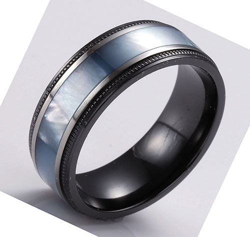 mens mother of pearl inlay wedding band in black zirconium8mm br1242