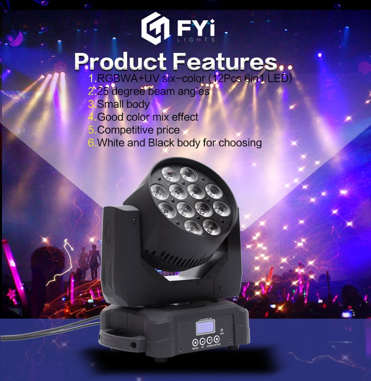 2016 New product A038A 12x15w RGBWA+UV 6in1 led wash moving head light