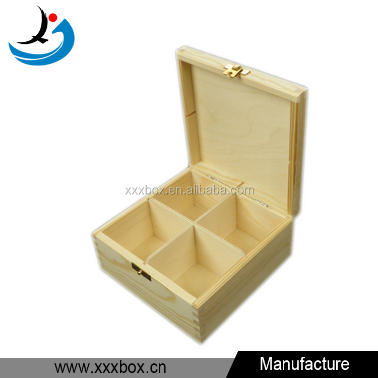 Plain Wooden Storage 4 Compartments Clasp Tea Box