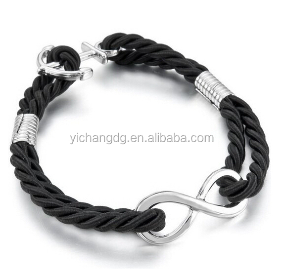Women's Bracelet Bangle Cuff Silver Black Anchor Nautical Infinity Love Symbol 8 Braided Biker