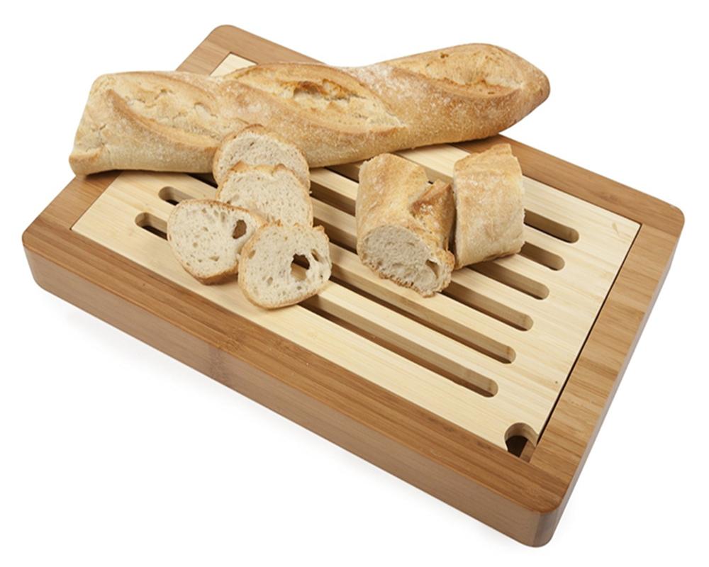 Food Grade Safe Eco Friendly Natural Material Wooden Bamboo Bread Board with Slotted