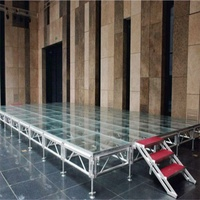 Factory directly transparent plexiglass wedding stage tempered glass stage acrylic stage