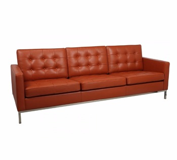Knoll Sofa In Vintage Leather / Stylish 3 Seater Leather Sofa