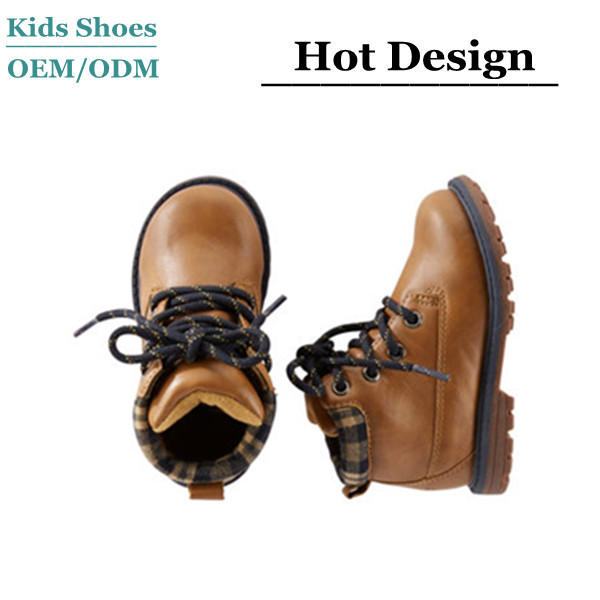 100% man-made Boy booties Self-tie laces Molded tread Plaid Collar School Boots