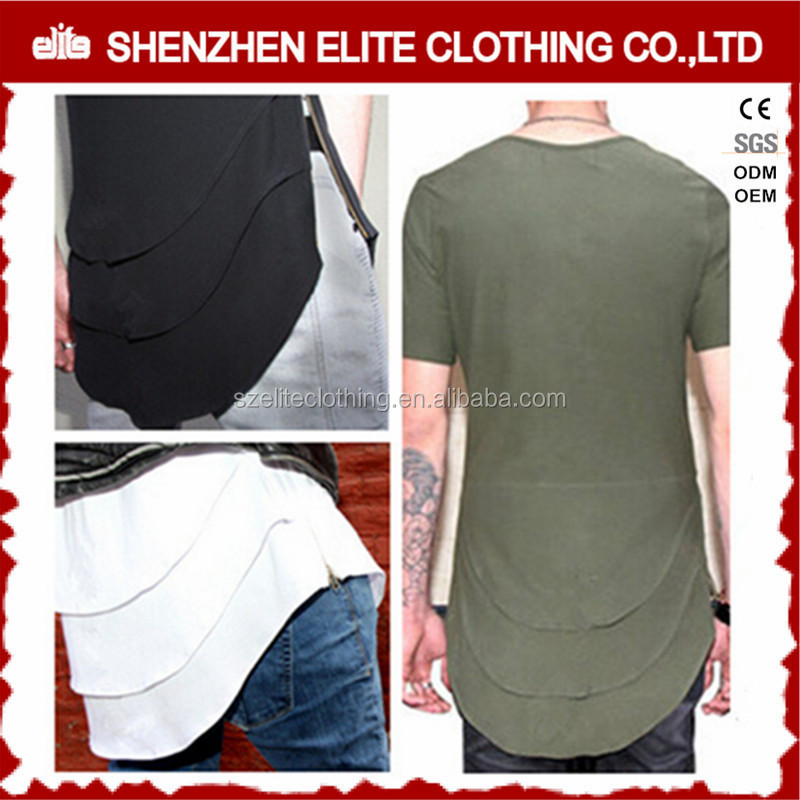 fashion men white o-neck customized logo 100% cotton t-shirt with zipper side