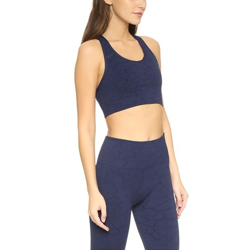 Bridge Sports Bra Peacoat double-layered textured jersey custom brand