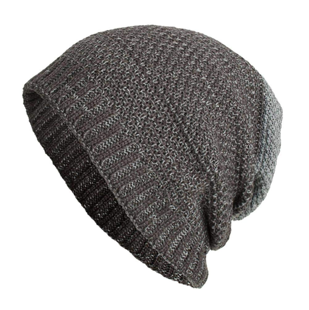 SUKEQ Slouchy Beanie Hat Daily Knit Skull Cap Winter Warm Ribbed Snow Ski Cap Men Women (Gray)