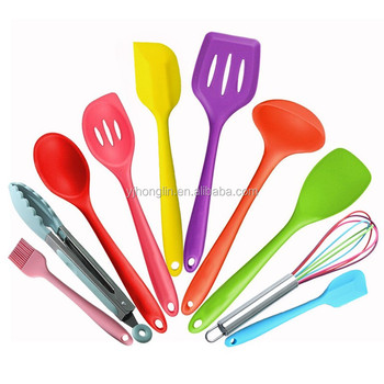 colorful baking tool set cooking accessories 10 pieces kitchen silicone utensil set
