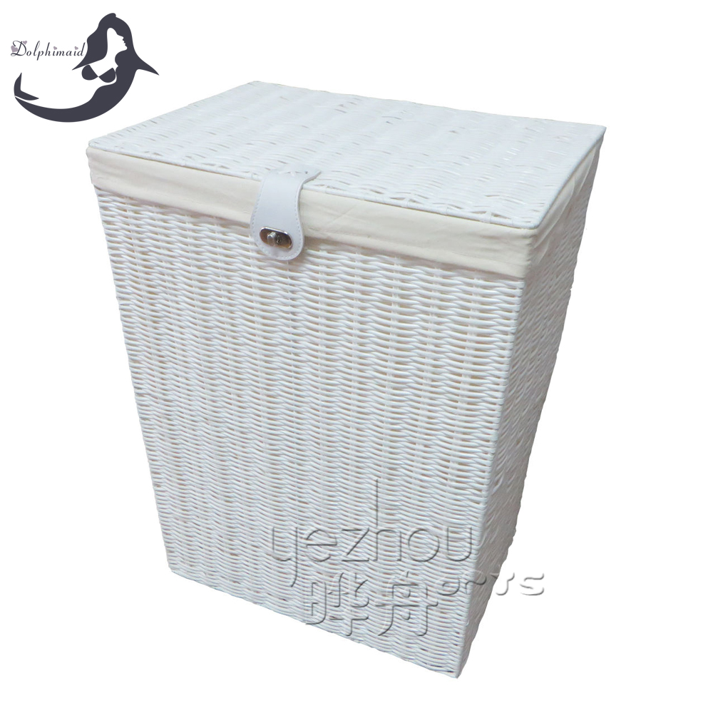 Large Laundry Clothes Basket With Lid Lock Lining Storage White Collapsible Plastic Product On