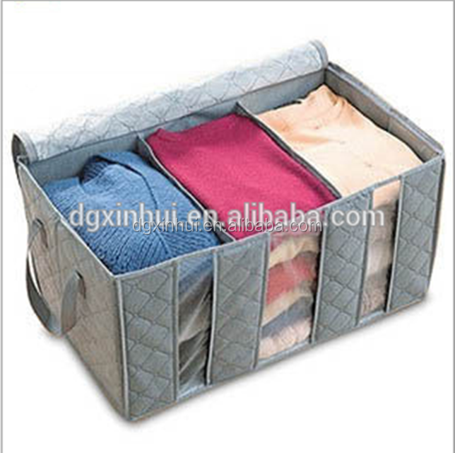 65L Visual Bamboo Charcoal Fibre Home Closet Storage Boxes Organizer Box Anti-bacterial Clothes Finishing Box